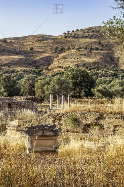 Ancient Apollon temple against mountain at Gortyn- Crete- Greece