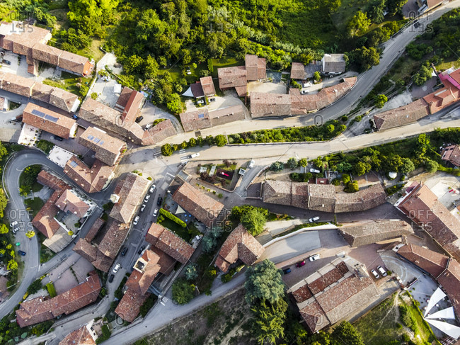 Drone view of roads winding through rural town