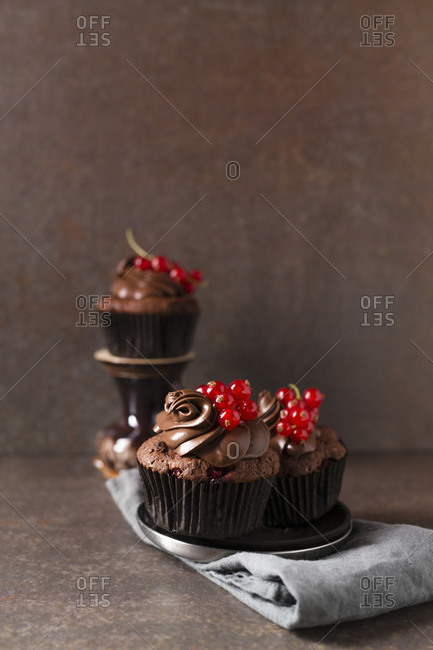 Studio shot of chocolate cupcakes with red currant berries