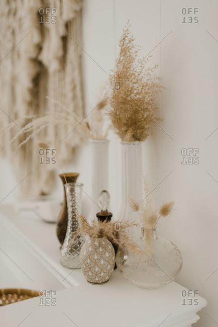 Dry flower vase kept on side table at home