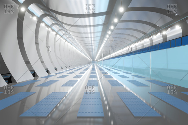 Three dimensional render of white brightly lit corridor inside spaceship or space station