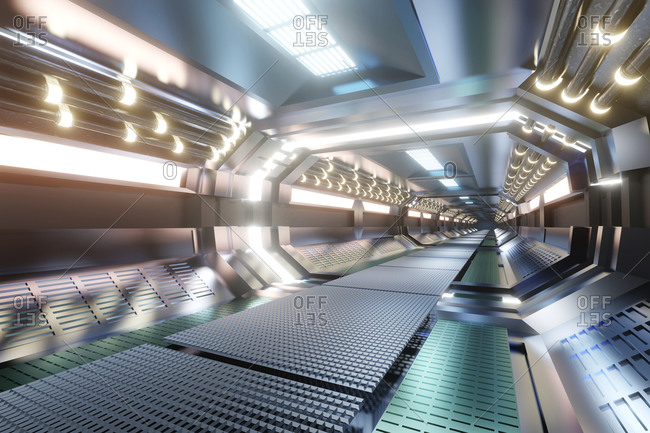 3D rendered illustration of science fiction spaceship
