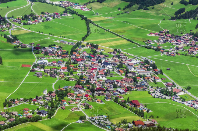 Austria- Tyrol- Aerial view of rural village in Tannheimer Tal during summer