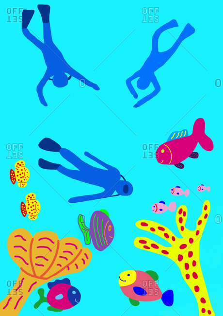 Child's painting of underwater world with divers