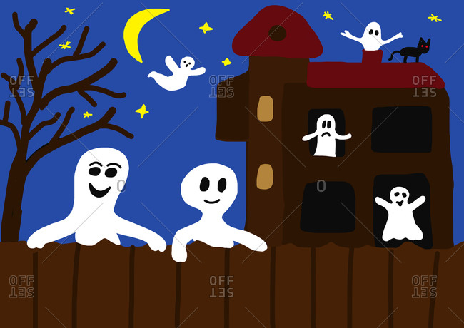 Child's painting of haunted castle and ghosts by night
