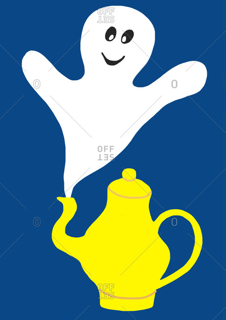 Child's painting of smiling ghosts and yellow teapot
