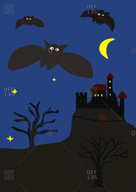 Child's painting of bats and haunted castle by night