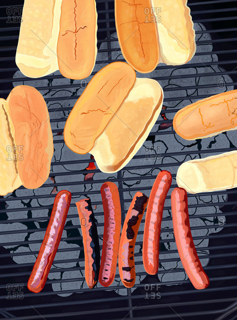 Six hot dogs on a grill with buns
