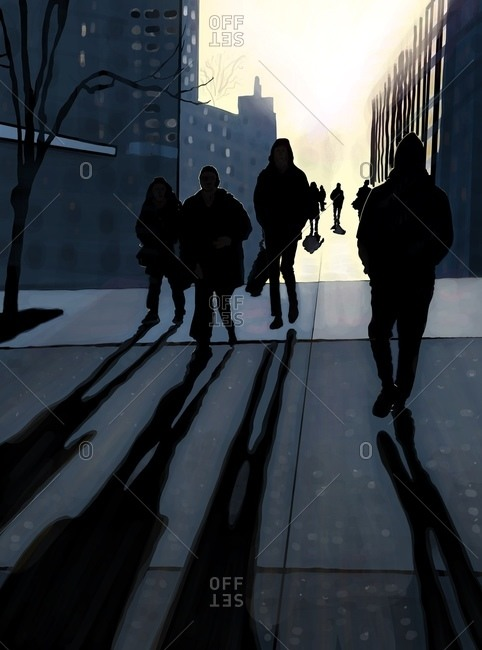 Backlit commuters and pedestrians on New York City sidewalk walking away from the sun