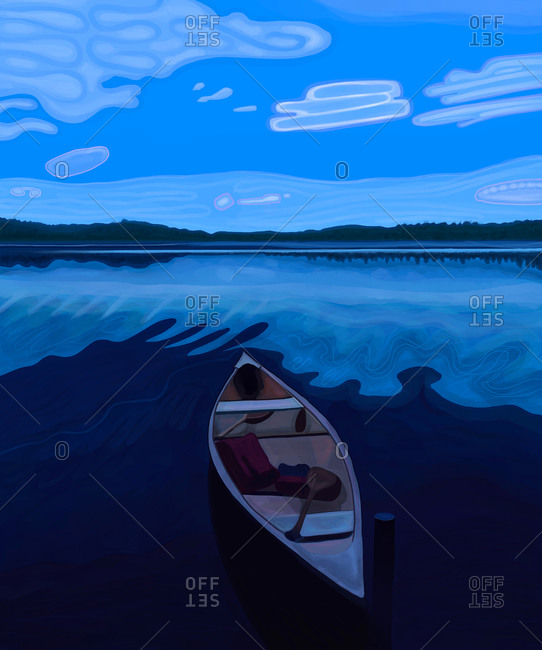 Canoe in a lake at blue hour