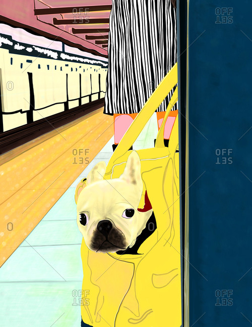 A woman waiting in a subway platform with her dog in a yellow bag