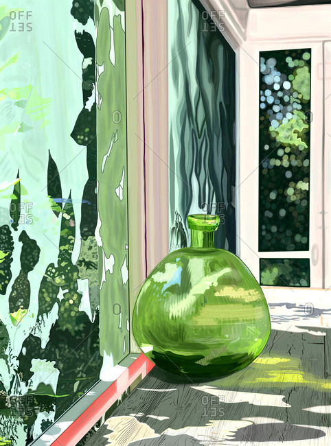 Green glass vase on a screened in porch