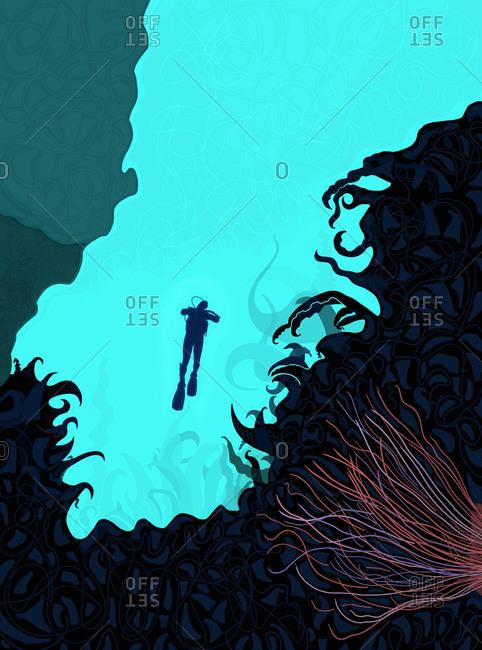 Scuba Diver Ascending