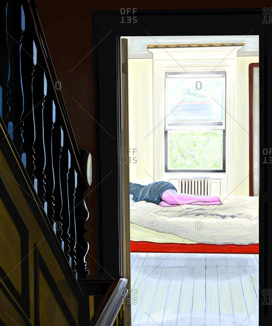 View from hallway of a woman napping in bedroom