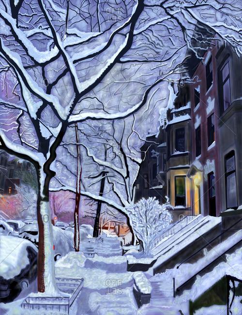 A snowy residential street in Brooklyn, New York at dawn