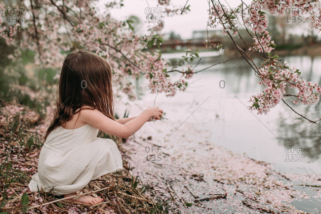 Little girl sitting barefoot beside a river underneath a tree full of spring blossoms