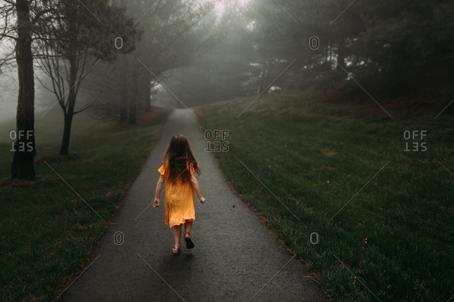 Back view of a young girl walking down a mysterious path
