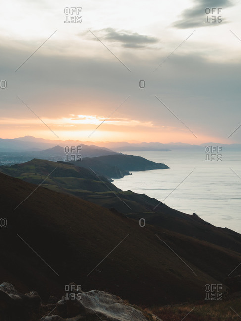 Hazy sunset view from the top of Jaizkibel, Basque Country