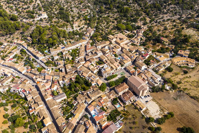 Aerial view of houses in village on sunny day- Caimari- Majorca- Spain