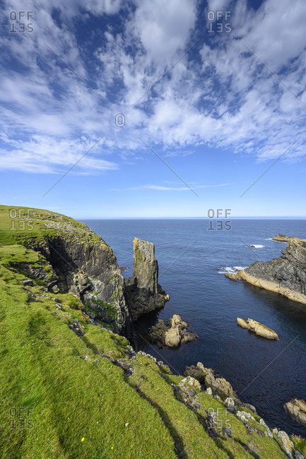 UK- Scotland-Rocky cliffs on northern tip of Isle of Lewis