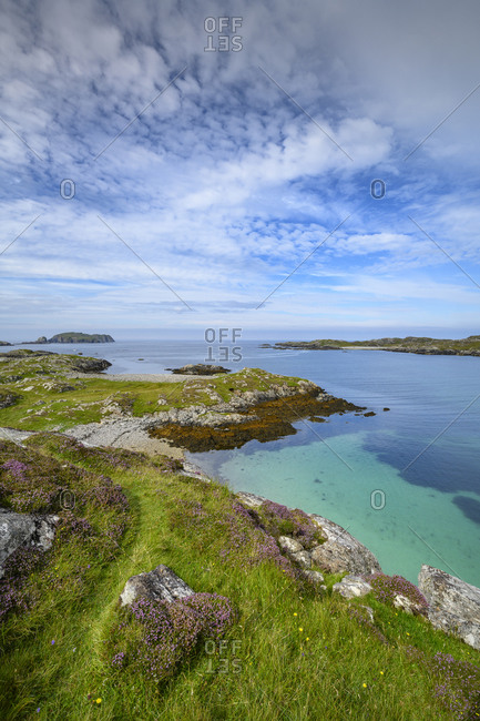 UK- Scotland- Clouds over coastline and bay of Isle of Lewis