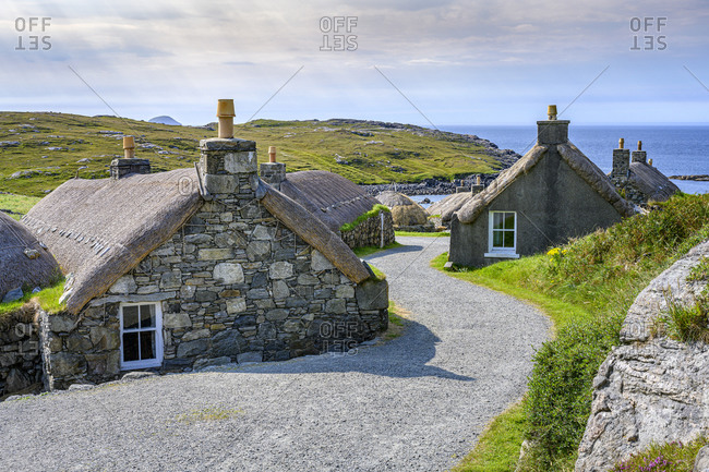UK- Scotland- Garenin- Oldblackhousevillage on shore of Isle Of Lewis