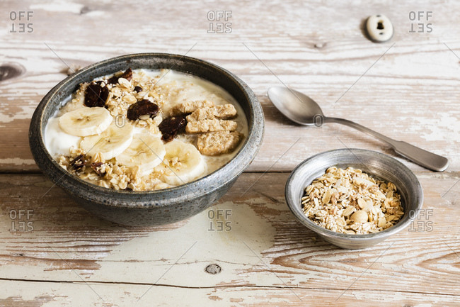 Bowl of banana porridge and oats