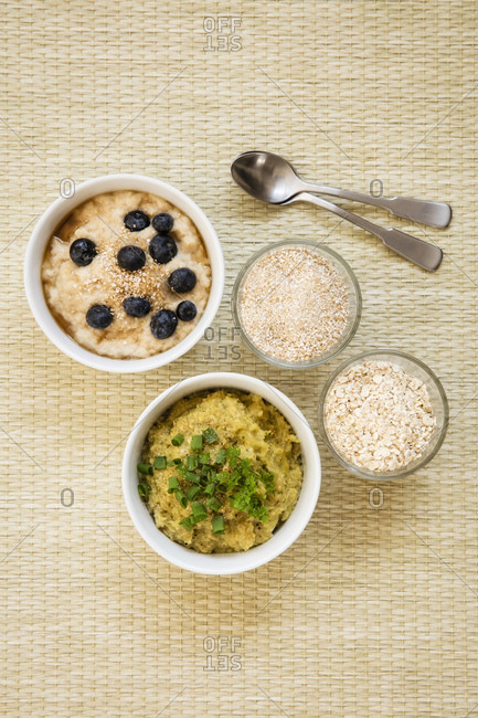Two bowls of sweet and savory porridgewith oats