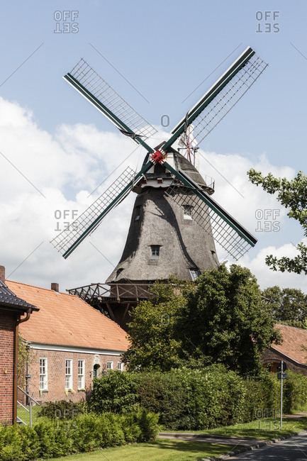 Germany- Lower Saxony- Jever- Windmill along Friesische Muhlenstrasse