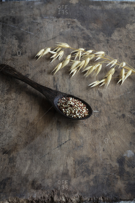 Oats and ladle of raw quinoa
