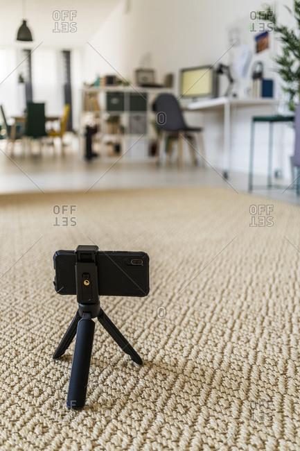Tripod kept on carpet at home