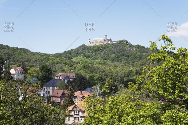 Germany- Thuringia- Eisenach- Wartburg castle overlooking town below