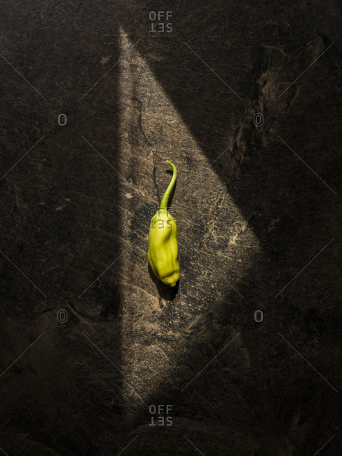 Chili pepper illuminated by triangle shaped light