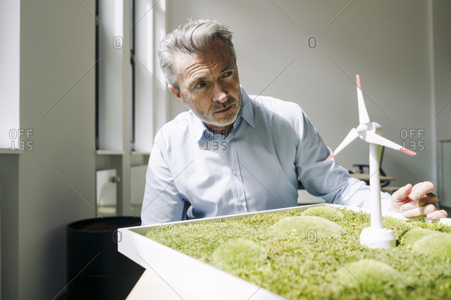 Businessman with moss frame and wind turbine toy working on project at office