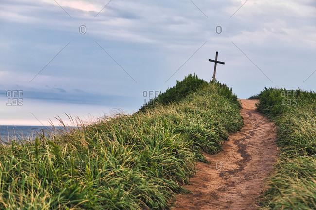 Walkway towards Christian cross at Vladivostok- Russia