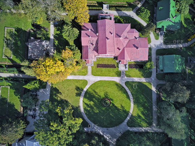 Drone shot of Abramtsevo State Historical- Artistic and Literary Museum-Reserve