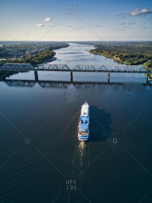 Ship moving along Volga River