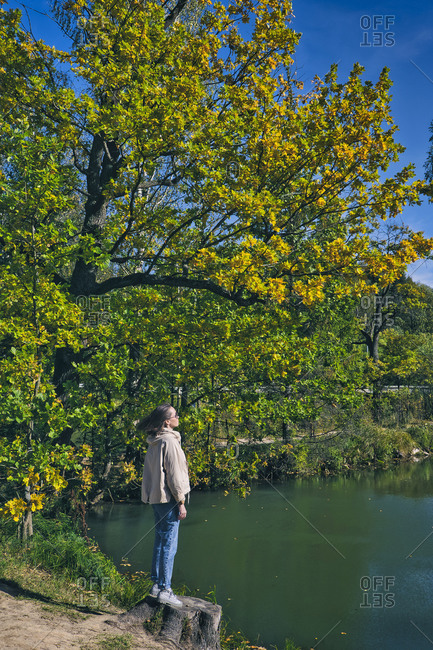 Woman standing on tree stump at lakeshore in park during autumn
