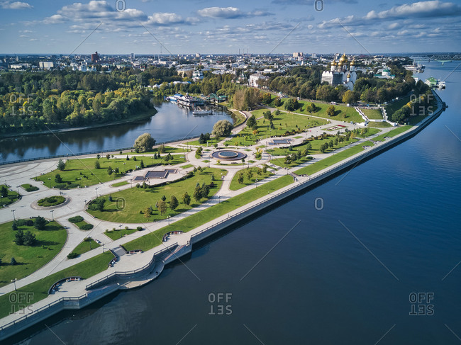 Aerial view of park amidst Volga River and Kotorosl River on sunny day