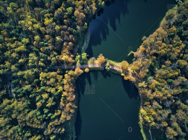Bridge over pond amidst green trees at Skitsky Ponds park on sunny day