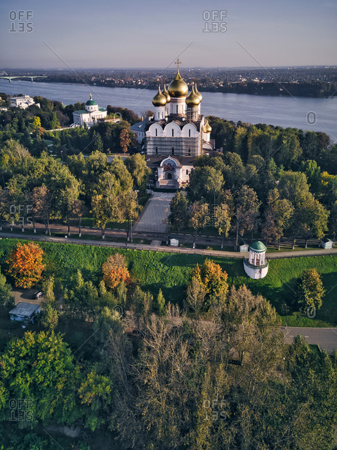 Aerial view of Assumption Cathedral by Volga River in city- Yaroslavl- Russia