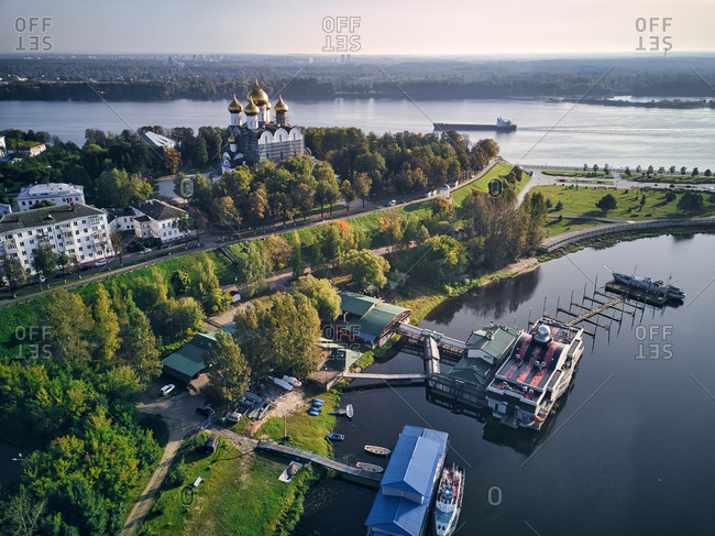 Aerial view of harbor near park at Strelka with Assumption Cathedral by Volga and Kotorosl river crossing- Yaroslavl- Russia
