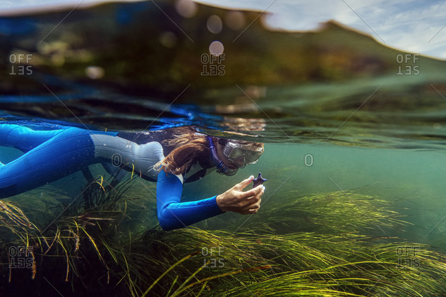 Woman searching sea food while diving in to sea