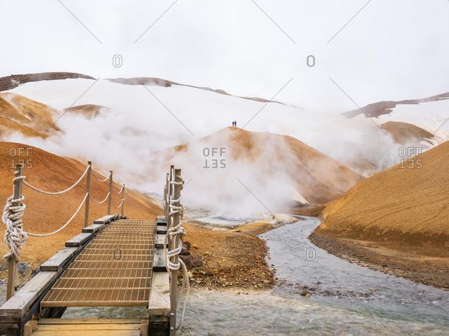 Iceland- Southern Region- Small bridge in Hveradalir hot springs