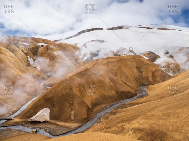 Iceland- Southern Region- Hveradalir hot springs in Kerlingarfjoll range