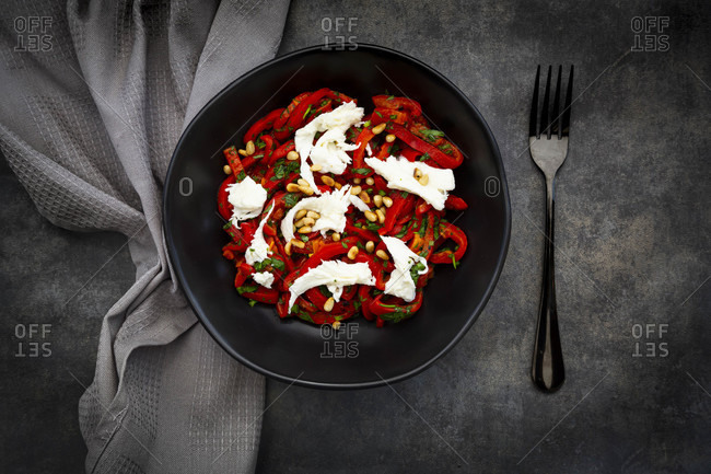 Bowl of vegetarian salad with red bell peppers- mozzarella- roasted pine nuts- parsley and chive