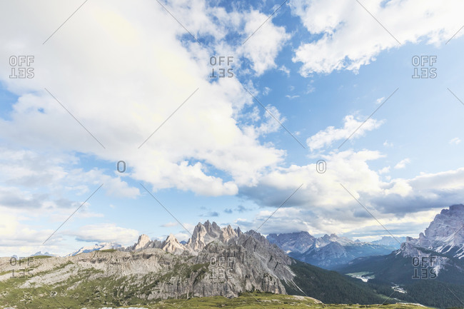 Idyllic shot of rocky mountains seen from Sesto Dolomites- Dolomites- Alto Adige- Italy