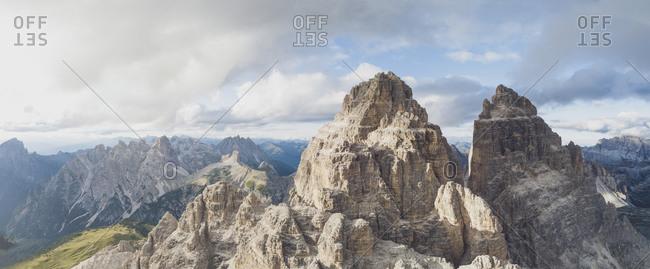 Aerial view of rocky mountain peaks against sky- Sesto Dolomites- Dolomites- Alto Adige- Italy