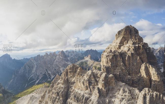 Drone view of rocky mountain peaks against sky- Sesto Dolomites- Dolomites- Alto Adige- Italy