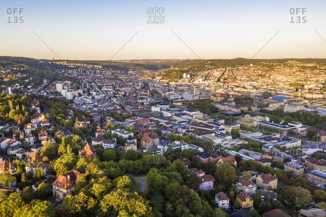 Germany- Baden-Wurttemberg- Stuttgart- Aerial view of Diemershalde quarter at dusk